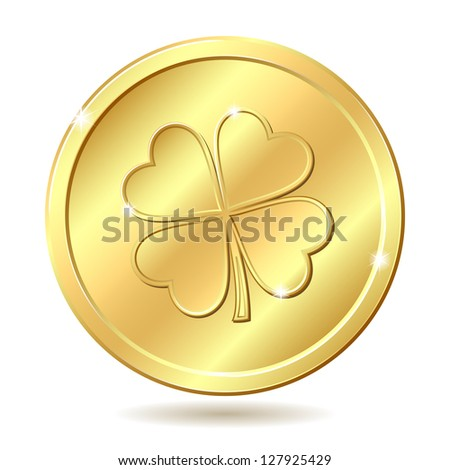 Golden coin with four leaf clover. St. Patrick's day symbol. Vector illustration