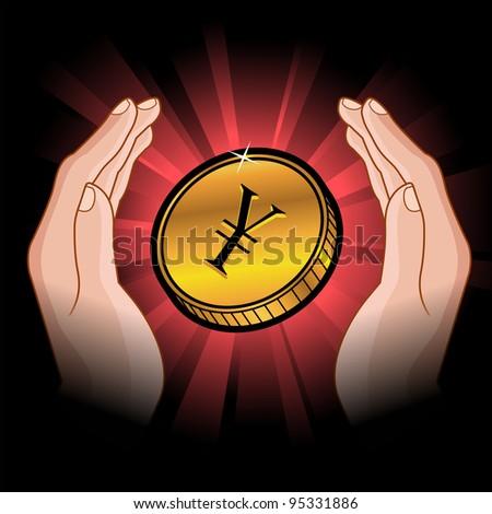 golden coin with yen symbol in hands - stock vector