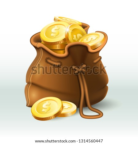 Golden coins bag. Gold coin in old antique sack, saving money purse and gold wealth. Treasure bag, bonus game element coins or currency wealth. 3D realistic vector illustration