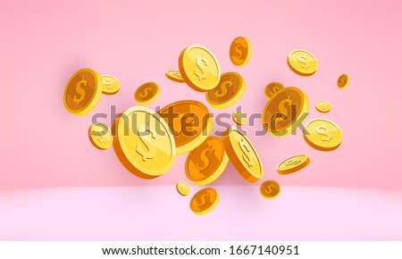 Golden coins 3d money falling into a pink piggy bank, 3d money coin isolated on pink render. US dollar coins. Bank and investment concept. Inserting a coin into a piggy bank. Pink background gradient.