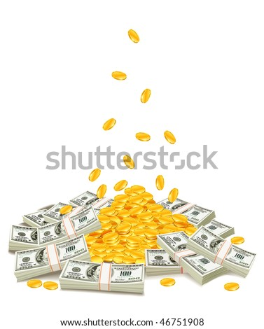 golden coins dropping down on pile of dollar packs - vector illustration, isolated on white background