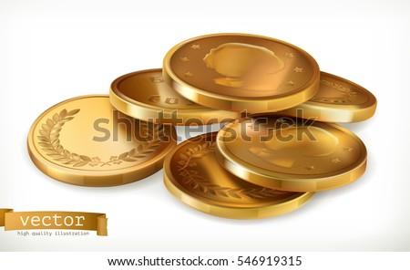 Golden coins. Money 3d vector icon