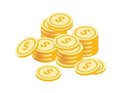 Golden coins stack vector graphic illustration. Coin money stacked isolated on white background. Gold cash currency for payment. Cartoon symbol of wealth, income and finance