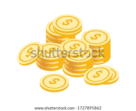 Golden coins stack vector graphic illustration. Coin money stacked isolated on white background. Gold cash currency for payment. Cartoon symbol of wealth, income and finance Foto d'archivio ©