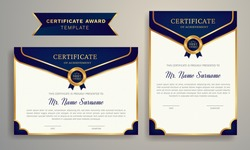 Golden color Certificate Award Design Template. Clean modern certificate with gold badge. Certificate border template with luxury and modern line pattern. Diploma Certificate vector template.