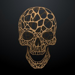 Golden color skull on black background