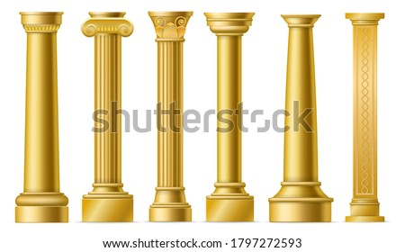 Golden columns. Classic antique gold pillars, roman historical stone column, ancient greece historic architecture sculpture facade, marble colonnade vector 3D isolated elements set
