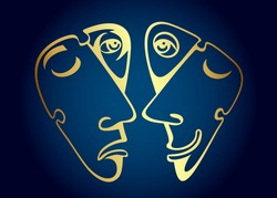 Golden comedy and tragedy masks. Vector