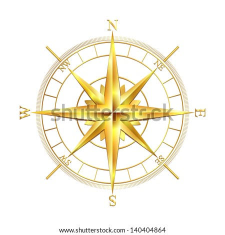 golden compass rose  isolated
