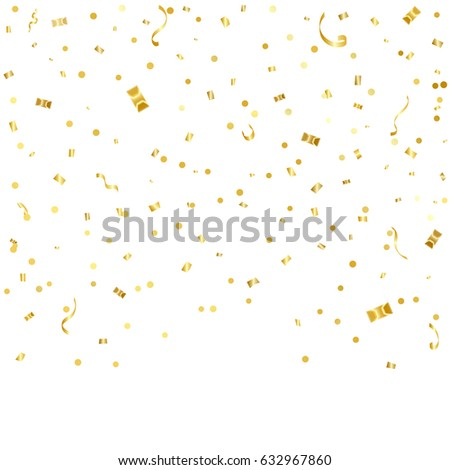 Golden Confetti And Ribbon Falling On White Background. Vector