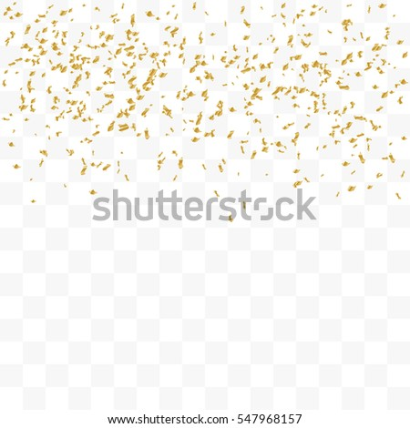 Golden Confetti Falling On Transparent Background. Vector