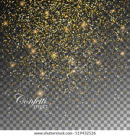 Golden Confetti Glitters. Vector Festive Illustration of Falling Shiny Particles And Stars. Sparkling Texture Isolated on Transparent Checkered Background. Holiday Decorative Tinsel Element for Design