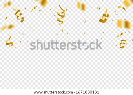 Golden confetti isolated on checkered background. Gold confetti falling festive decoration for birthday party celebration.