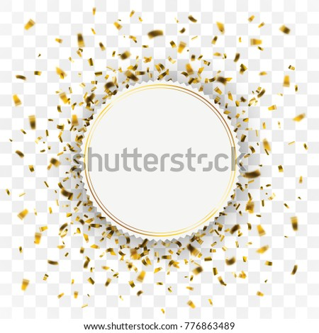 Golden confetti with paper emblem on the checked background. Eps 10 vector file.