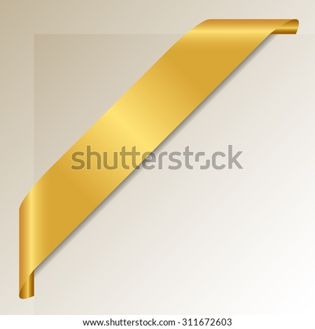 Golden Corner Ribbon - Vector Design Element