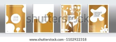 Golden cover set. Exotic flyer on light background.  Fluid poster design.  Brochure template design. Golden backdrop. Stylish vector cover design.  Abstract gradient retro texture. - Shutterstock ID 1102922318