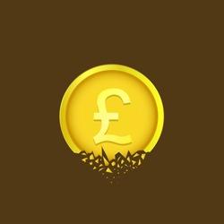 Golden Cracked Pound coin. British money currency symbol