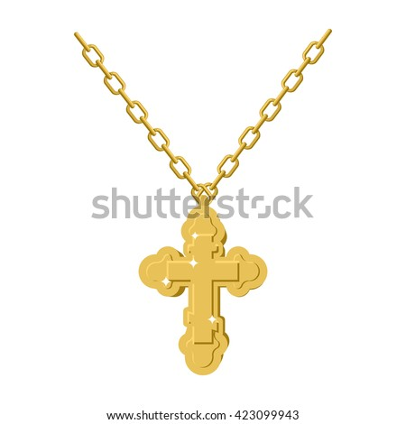 golden cross necklace on chain
