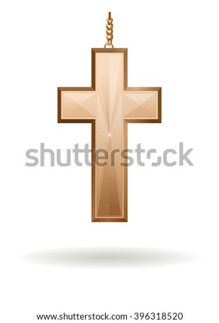 golden cross on the gold chain