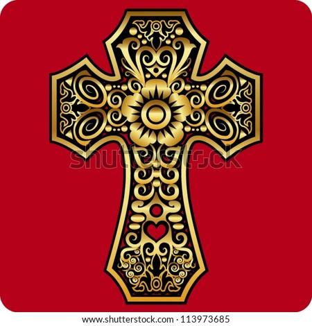 golden cross ornament good use