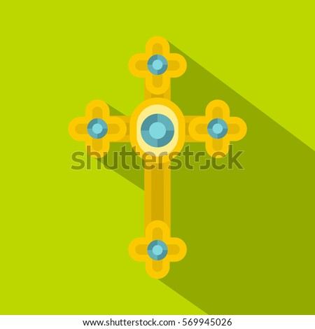 golden cross with diamonds icon