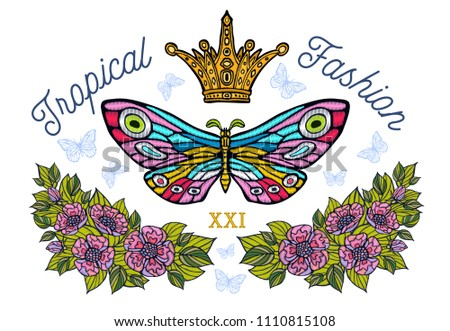 Golden crown, butterflies colorful embroidery, vintage style flowers, flight insect butterflies, wings textured, stripe. Tropical lettering, fashion floral elements. Hand drawn vector illustration.