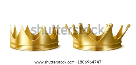 Golden crowns for king or queen, crowning headdress for Monarch. Royal gold monarchy medieval emperor coronation symbol, imperial sign isolated on white background. Realistic 3d vector illustration Сток-фото ©