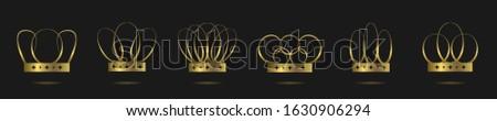 Golden crowns. Golden crown set, award insignia symbol