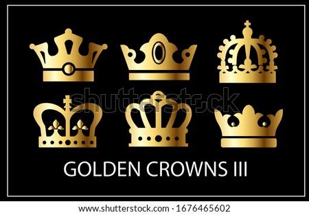 golden crowns iii vector set