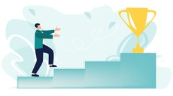 Golden cup. Businessman run up the stairs to his goal, move up motivation, the path to the target's achievement. Leadership, motivation, ambition concept. First place, number one. Vector, flat style.