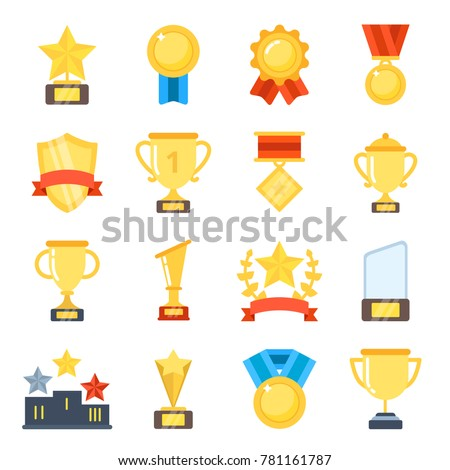 Golden cups for winners and others sport trophy. Golden reward and gold trophy for championship. Vector illustration