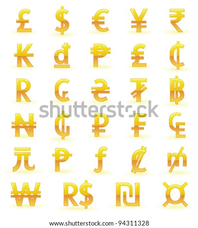 golden currency symbols of the