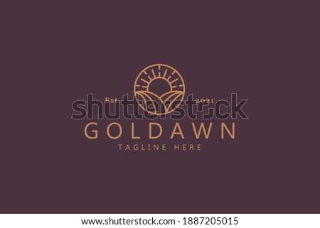 Golden Dawn Concept Eco Farm Logo Minimalist. High Quality Design Branding Logo Template.  Photo stock ©