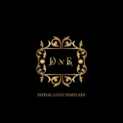 Golden DE Initial logo. Frame emblem ampersand deco ornament monogram luxury logo template for wedding or more luxuries identity
