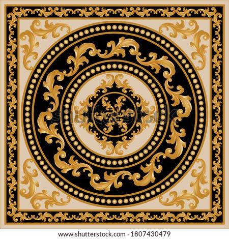 Golden decorative baroque pattern gold spheres on black background.EPS10 Illustration. Photo stock ©