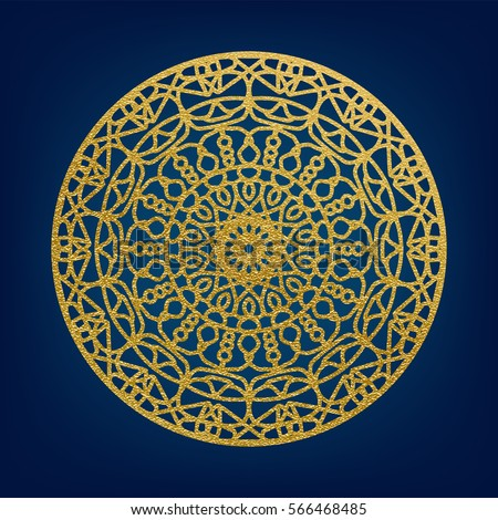 Golden decorative mandala template. Elegant vector element for design in Arabic pattern style in Ramadan Kareem festival.Lace vector illustration for wedding invitations and greeting card.