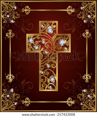 Golden diamond easter cross, vector illustration