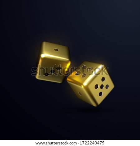 golden dices isolated on black