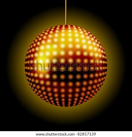 Golden Disco Lights Ball ( EPS10 Vector)