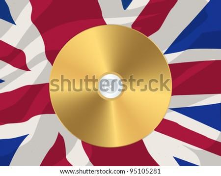 Golden disk over a british flag