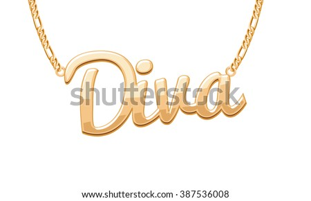 Golden DIVA word pendant on chain necklace. Jewelry design. Foto stock ©