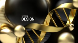 Golden DNA strand with black and gold particles. Vector 3d scientific illustration. Biotechnology or bio engineering concept. Genetic research sign.