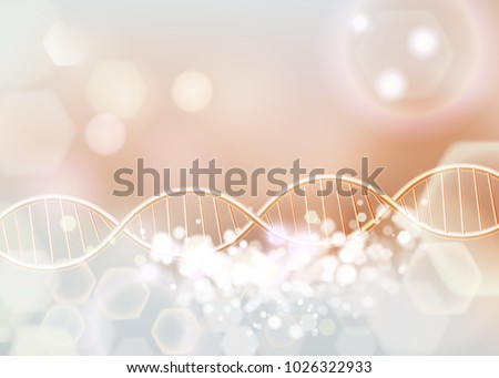 Golden DNA structure vector background. Beauty skin care luxury cosmetics concept. Molecular structure. 3D . Blurred bright bokeh background.  abstract backgroun