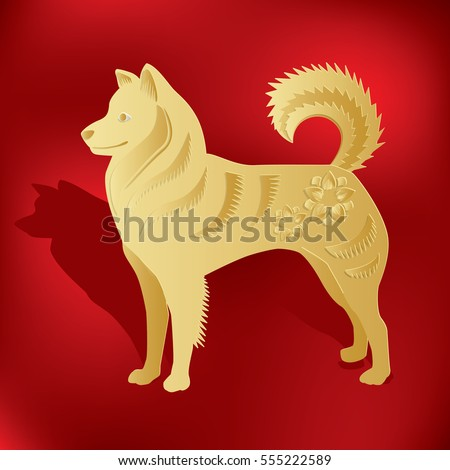 golden dog paper cut style