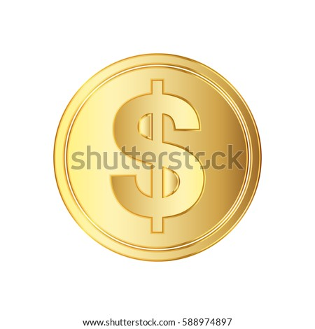 Golden dollar coin icon. Vector illustration. Golden dollar coin isolated on white background.