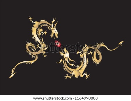 golden dragon fighting with