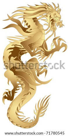 Golden Dragon, Japanese or Chinese style dragon  in vector, Japan, China, New Year symbol