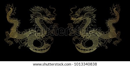 golden dragon on black