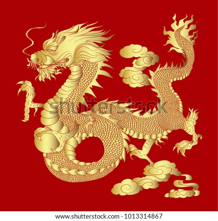 golden dragon on red background