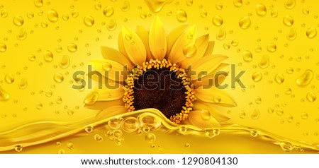 Golden drops. Sunflower oil. 3d realistic vector